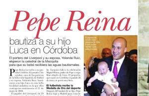 Un giornale spagnolo documenta il battesimo di Luca, figlio di Pepe Reina, a Cordoba