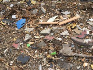 i rifiuti rimasti nel campo di Candelara