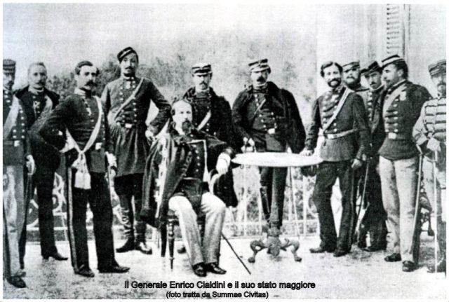 Il generale Enrico Cialdini e il suo stato maggiore